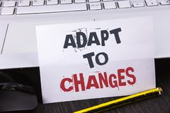 Text sign showing Adapt To Changes. Conceptual photo Innovative changes adaption with technological evolution written on white Sti. Text sign showing Adapt To Royalty Free Stock Images