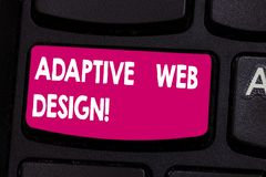 Text sign showing Adaptive Web Design. Conceptual photo multiple versions of a webpage to fit the user s is device. Keyboard key Intention to create computer stock photography