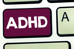 Text sign showing Adhd. Conceptual photo Mental health disorder of children Hyperactive Trouble paying attention.  vector illustration