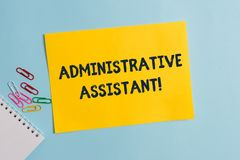 Text sign showing Administrative Assistant. Conceptual photo Administration Support Specialist Clerical Tasks Plain. Text sign showing Administrative Assistant stock photo