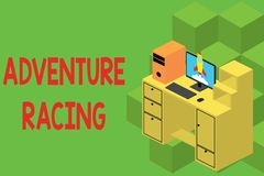 Text sign showing Adventure Racing. Conceptual photo disciplinary sport involving navigation over unknown course Working royalty free illustration