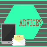 Text sign showing Advicequestion. Conceptual photo Counseling Encouragement Assist Recommend Support Steer. Text sign showing Advicequestion. Business photo text stock illustration