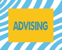 Text sign showing Advising. Conceptual photo Give advice recommendation assistance professional support.  stock photo