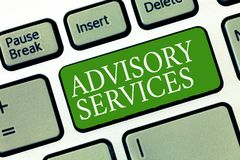 Text sign showing Advisory Services. Conceptual photo Support actions and overcome weaknesses in specific areas.  stock photo
