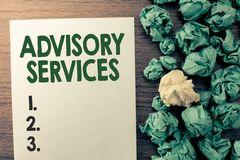 Text sign showing Advisory Services. Conceptual photo Support actions and overcome weaknesses in specific areas.  royalty free stock images