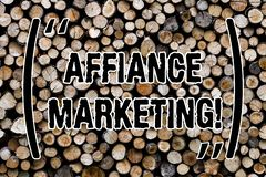 Text sign showing Affiance Marketing. Conceptual photo joining two or more companies in same field mutual goal Wooden background. Vintage wood wild message stock photography