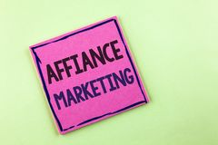 Text sign showing Affiance Marketing. Conceptual photo joining two or more companies in same field mutual goal written on Pink Sti. Text sign showing Affiance Royalty Free Stock Photo