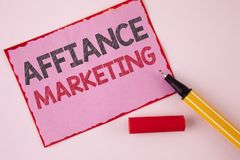 Text sign showing Affiance Marketing. Conceptual photo joining two or more companies in same field mutual goal written on Pink Sti. Text sign showing Affiance Royalty Free Stock Photography
