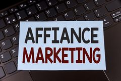 Text sign showing Affiance Marketing. Conceptual photo joining two or more companies in same field mutual goal written on Sticky N. Text sign showing Affiance Royalty Free Stock Photos