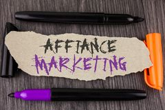 Text sign showing Affiance Marketing. Conceptual photo joining two or more companies in same field mutual goal written on Tear Car. Text sign showing Affiance Stock Photos