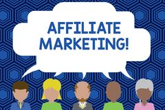 Text sign showing Affiliate Marketing. Conceptual photo Promoting another demonstratings product Earning a Commission. Text sign showing Affiliate Marketing royalty free illustration
