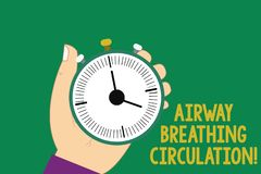 Text sign showing Airway Breathing Circulation. Conceptual photo Memory aid for rescuers performing CPR Hu analysis Hand. Holding Mechanical Stop Watch Timer royalty free illustration