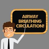 Text sign showing Airway Breathing Circulation. Conceptual photo Memory aid for rescuers performing CPR Man Standing. Holding Stick Pointing to Wall Mounted royalty free illustration
