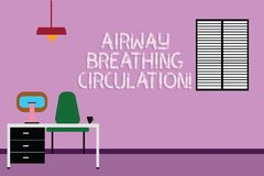Text sign showing Airway Breathing Circulation. Conceptual photo Memory aid for rescuers performing CPR Work Space. Minimalist Interior Computer and Study Area royalty free illustration