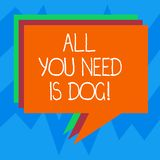 Text sign showing All You Need Is Dog. Conceptual photo Get a puppy to be happier canine lovers cute animals Stack of. Speech Bubble Different Color Blank royalty free illustration