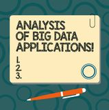 Text sign showing Analysis Of Big Data Applications. Conceptual photo Information technologies modern apps Blank Square. Color Board with Magnet Click Ballpoint royalty free illustration