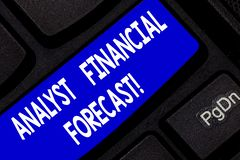 Text sign showing Analyst Financial Forecast. Conceptual photo estimate future financial outcomes of a company Keyboard. Key Intention to create computer royalty free stock image