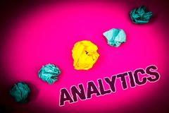 Text sign showing Analytics. Conceptual photo Data Analysis Financial Information Statistics Report Dashboard Ideas concept pink b. Ackground crumpled papers royalty free stock photography