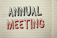 Text sign showing Annual Meeting. Conceptual photo Yearly Company Assembly Business Conference Report Event written on Notebook Bo. Text sign showing Annual stock photography