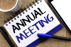 Text sign showing Annual Meeting. Conceptual photo Yearly Company Assembly Business Conference Report Event written on Notebook Bo. Text sign showing Annual stock images
