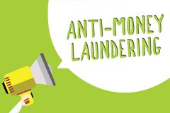 Text sign showing Anti Money Laundering. Conceptual photo stop generating income through illegal actions Multiline text message id. Ea convey report sound Stock Photo