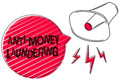 Text sign showing Anti Money Laundering. Conceptual photo stop generating income through illegal actions Sketch artwork loud sound. Speaker alarm awareness text Royalty Free Stock Photo
