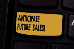 Text sign showing Anticipate Future Sales. Conceptual photo Valuing an investment for profitability and risk Keyboard. Key Intention to create computer message stock photo