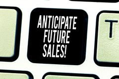 Text sign showing Anticipate Future Sales. Conceptual photo Valuing an investment for profitability and risk Keyboard. Key Intention to create computer message royalty free stock photography