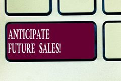 Text sign showing Anticipate Future Sales. Conceptual photo Valuing an investment for profitability and risk Keyboard. Key Intention to create computer message royalty free stock photos