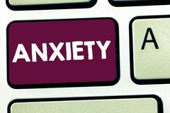 Text sign showing Anxiety. Conceptual photo Excessive uneasiness and apprehension Panic attack syndrome.  royalty free stock image