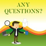Text sign showing Any Questions Question. Conceptual photo Asking for inquiry Interrogation Clarification Stressed Out. Text sign showing Any Questions Question royalty free illustration