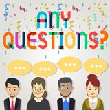 Text sign showing Any Questions Question. Conceptual photo you say write order to ask demonstrating about something. Text sign showing Any Questions Question vector illustration
