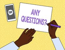Text sign showing Any Questions Question. Conceptual photo you say write order to ask demonstrating about something. Text sign showing Any Questions Question stock illustration