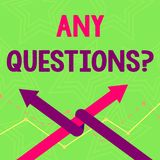 Text sign showing Any Questions Question. Conceptual photo you say write order to ask demonstrating about something Two. Text sign showing Any Questions Question stock illustration