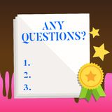 Text sign showing Any Questions Question. Conceptual photo you say write order to ask demonstrating about something. Text sign showing Any Questions Question royalty free illustration