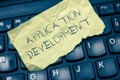 Text sign showing Application Development. Conceptual photo creation of Computer Apps for use on Mobile Devices.  royalty free stock photo
