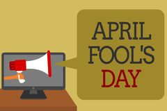 Text sign showing April Fool s is Day. Conceptual photo Practical jokes humor pranks Celebration funny foolish Social media networ. K convey lines messages ideas Royalty Free Illustration