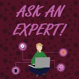 Text sign showing Ask An Expert. Conceptual photo confirmation that have read understand and agree with guidelines Woman. Text sign showing Ask An Expert royalty free illustration
