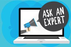 Text sign showing Ask An Expert. Conceptual photo Superior Reliable Ace Virtuoso Curiosity Authority Geek Man holding. Megaphone loudspeaker computer screen royalty free illustration