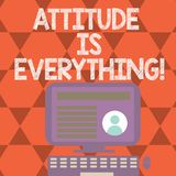 Text sign showing Attitude Is Everything. Conceptual photo Motivation Inspiration Optimism important to succeed. Text sign showing Attitude Is Everything vector illustration