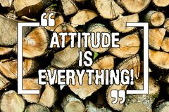 Text sign showing Attitude Is Everything. Conceptual photo Motivation Inspiration Optimism important to succeed Wooden background. Vintage wood wild message royalty free stock photography