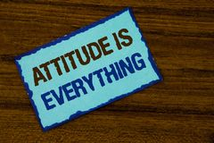 Text sign showing Attitude Is Everything. Conceptual photo Motivation Inspiration Optimism important to succeed written on Sticky. Text sign showing Attitude Is Royalty Free Stock Photography