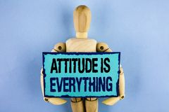 Text sign showing Attitude Is Everything. Conceptual photo Motivation Inspiration Optimism important to succeed written on Sticky. Text sign showing Attitude Is Stock Photo