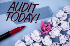 Text sign showing Audit Today. Conceptual photo Inspection made right now to personal or organizational accounts written on Painte. Text sign showing Audit Today royalty free stock photos
