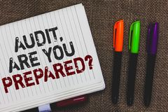 Text sign showing Audit, Are You Prepared question. Conceptual photo asking if he is ready to do something Open notebook page jute. Background colorful markers Stock Images