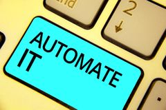 Text sign showing Automate It. Conceptual photo convert process or facility to be operated automatic equipment. Keyboard blue key. Intention create computer stock image