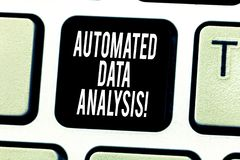 Text sign showing Automated Data Analysis. Conceptual photo Asking someone if got life or property insurance Keyboard. Key Intention to create computer message royalty free stock image