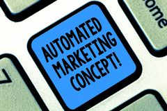 Text sign showing Automated Marketing Concept. Conceptual photo automate repetitive tasks such as emails Keyboard key. Intention to create computer message royalty free stock images