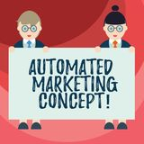 Text sign showing Automated Marketing Concept. Conceptual photo automate repetitive tasks such as emails Male and Female in. Uniform Standing Holding Blank vector illustration