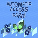 Text sign showing Automatic Access Card. Conceptual photo used to control entry into exterior doors of buildings Colorful. Instrument Maracas Handmade Flowers stock photo
